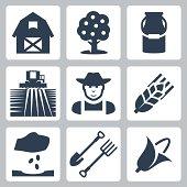 Vector farming icons set
