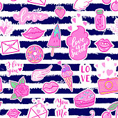 Vector fashion fun patches seamless pattern: I love you, smile, wings, ice cream, camera, sweets, lip, candy, heart. Pop art pink stickers for wedding, Valentine's Day, love prints background