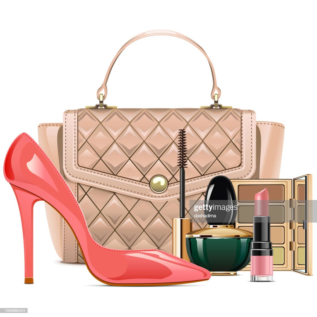 Vector Fashion Handbag with Makeup Cosmetics