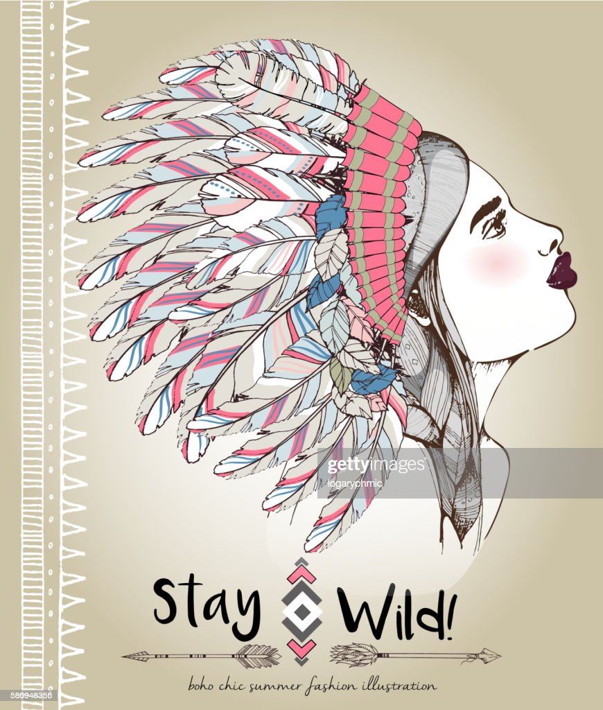 Vector fashion illustration of bohemian woman with headpiece of feathers
