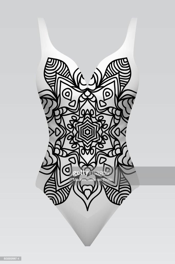 Vector fashion illustration, women's swimsuit with mandala print.