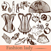 vector fashion lady set accessories clothiers and cosmetic