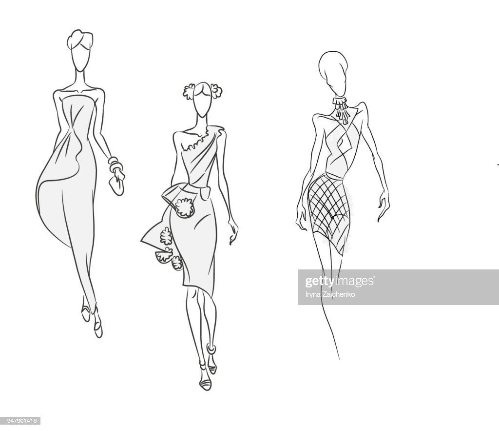 Vector fashion sketch. Set of beautiful models in cocktail dresses