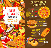 Vector fast food menu price template