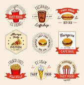 Vector fast food restaurant menu icons
