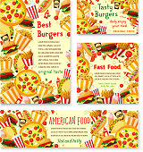 Vector fast food restaurant menu posters
