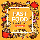 Vector fast food restaurant poster menu template
