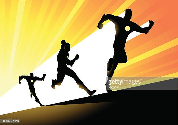 vector fast running superhero silhouette - track event stock illustrations