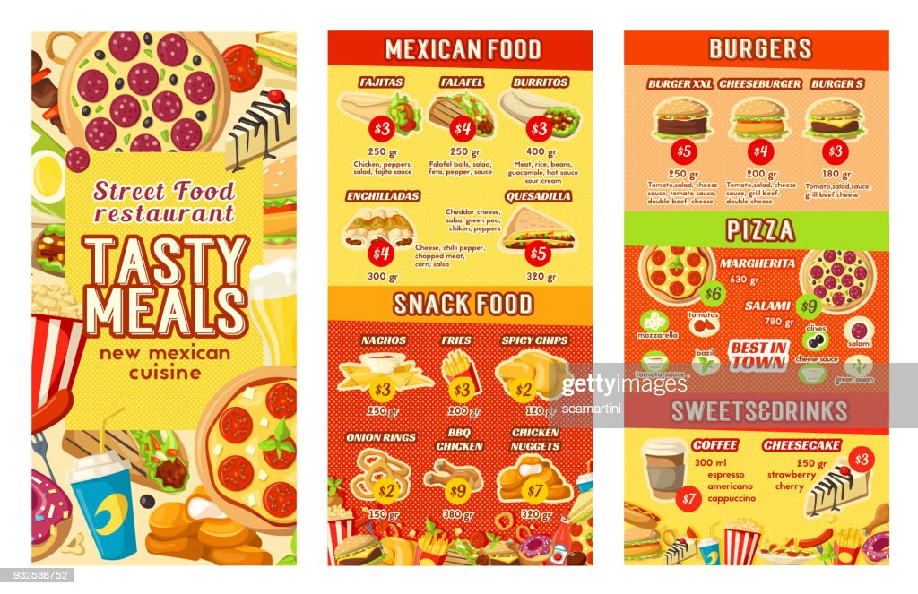 Vector fastfood street food restaurant cafe menu