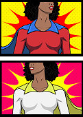 Vector Female African Superhero Closed-up to the Chest Illustration