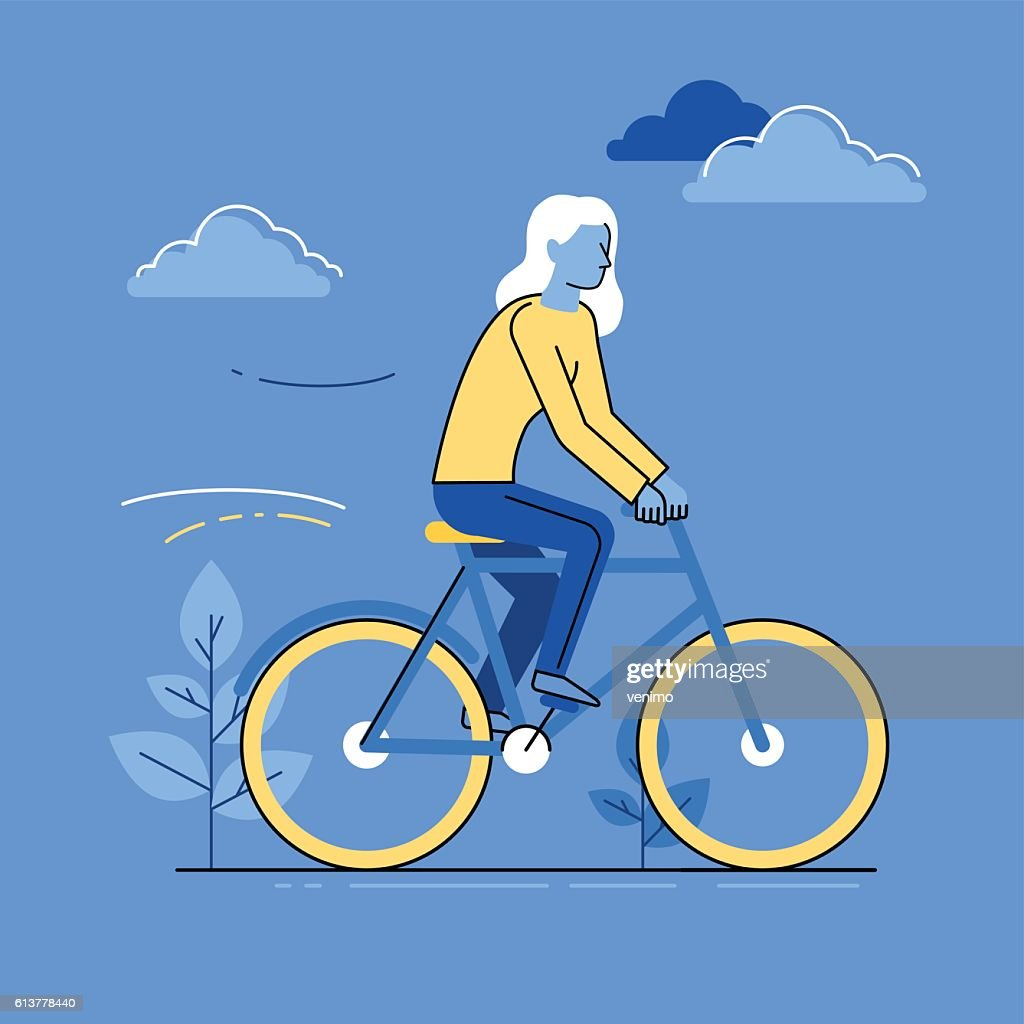 Vector female character - woman riding bicycle