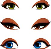 Vector female eyes collection in different emotion with blue, brown and green eye iris. Women eyes with stylish makeup isolated on white background.