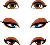 Vector female eyes in different emotion with blue, brown and green eye iris. Women eyes with stylish makeup isolated on white background.