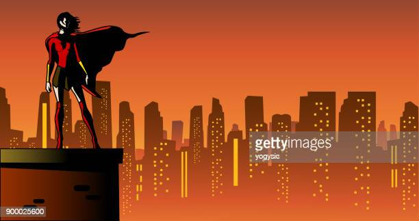 vector female superhero in a city at night - heroines stock illustrations