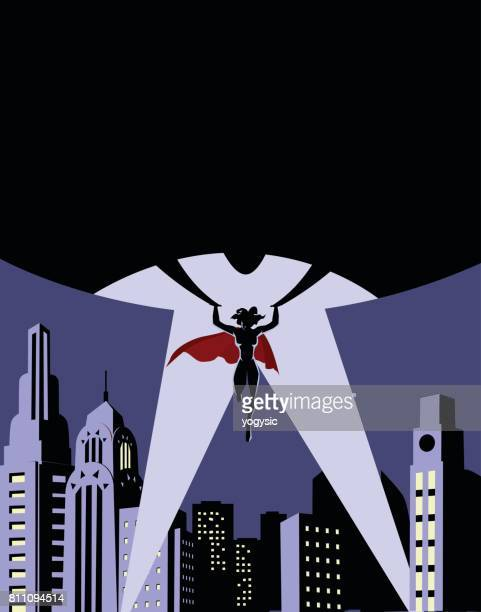 Vector Female Superhero Silhouette Lifts a Big Globe over a City