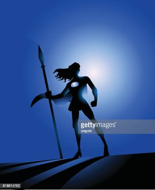Vector Female Superhero Warrior Silhouette