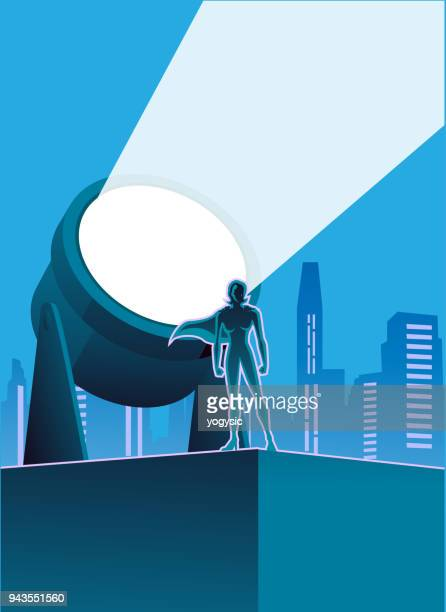 vector female superhero with signal light and city skyline background - heroines stock illustrations