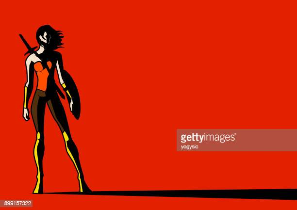 Vector Female Warrior Superhero in Shadow