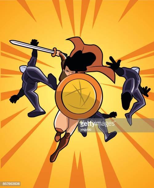 ベクトルの女性の戦士スーパー ヒーロー彼女の敵を実行します。 - デイフェンス点のイラスト素材/クリップアート素材/マンガ素材/アイコン素材