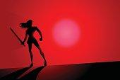 Vector Female Warrior Superhero Silhouette