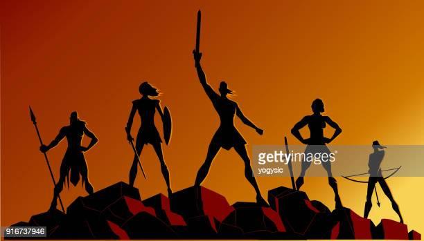 vector female warrior superhero team - greek people stock illustrations, clip art, cartoons, & icons