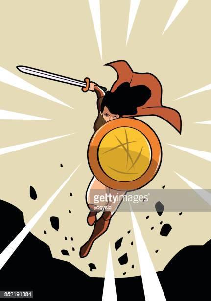 Vector Female Warrior Superhero