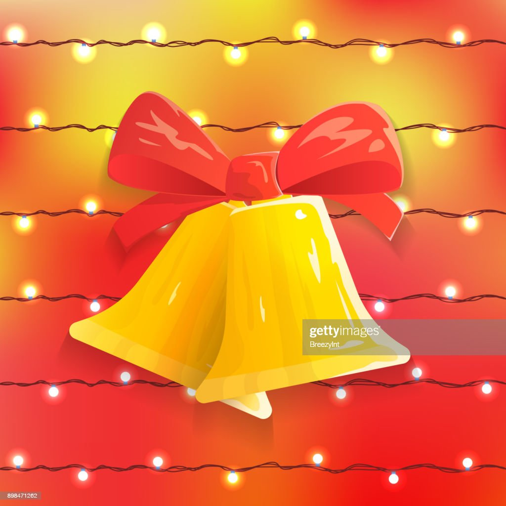 Vector Festive Background with Christmas Bells, Bow and Bright Lights