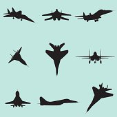 vector fighter jet silhouette set
