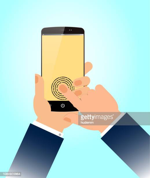 vector fingerprint smart phone access security isolated - security scanner stock illustrations