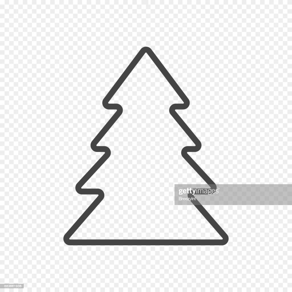 Vector Fir Tree Isolated on Light Transparent Background