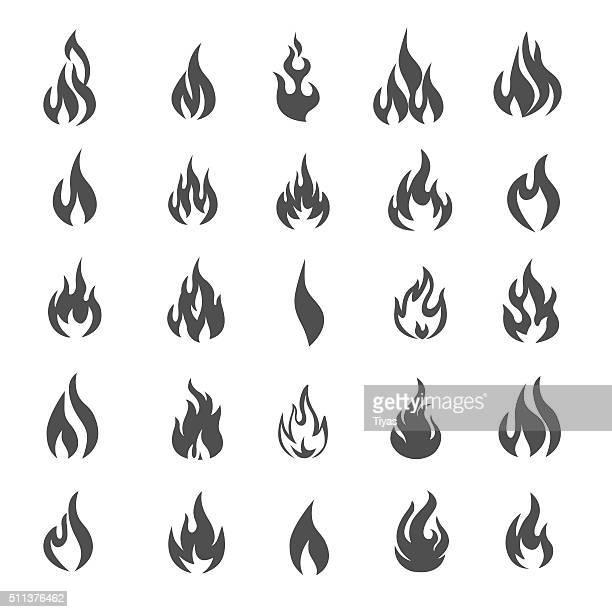 Vektor-Feuer und Flamme Symbol-set-Illustration