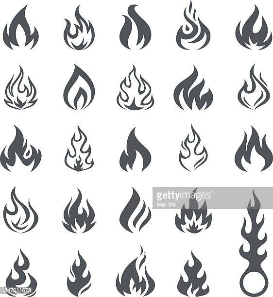 Vector Fire and Flame icon set - Illustration