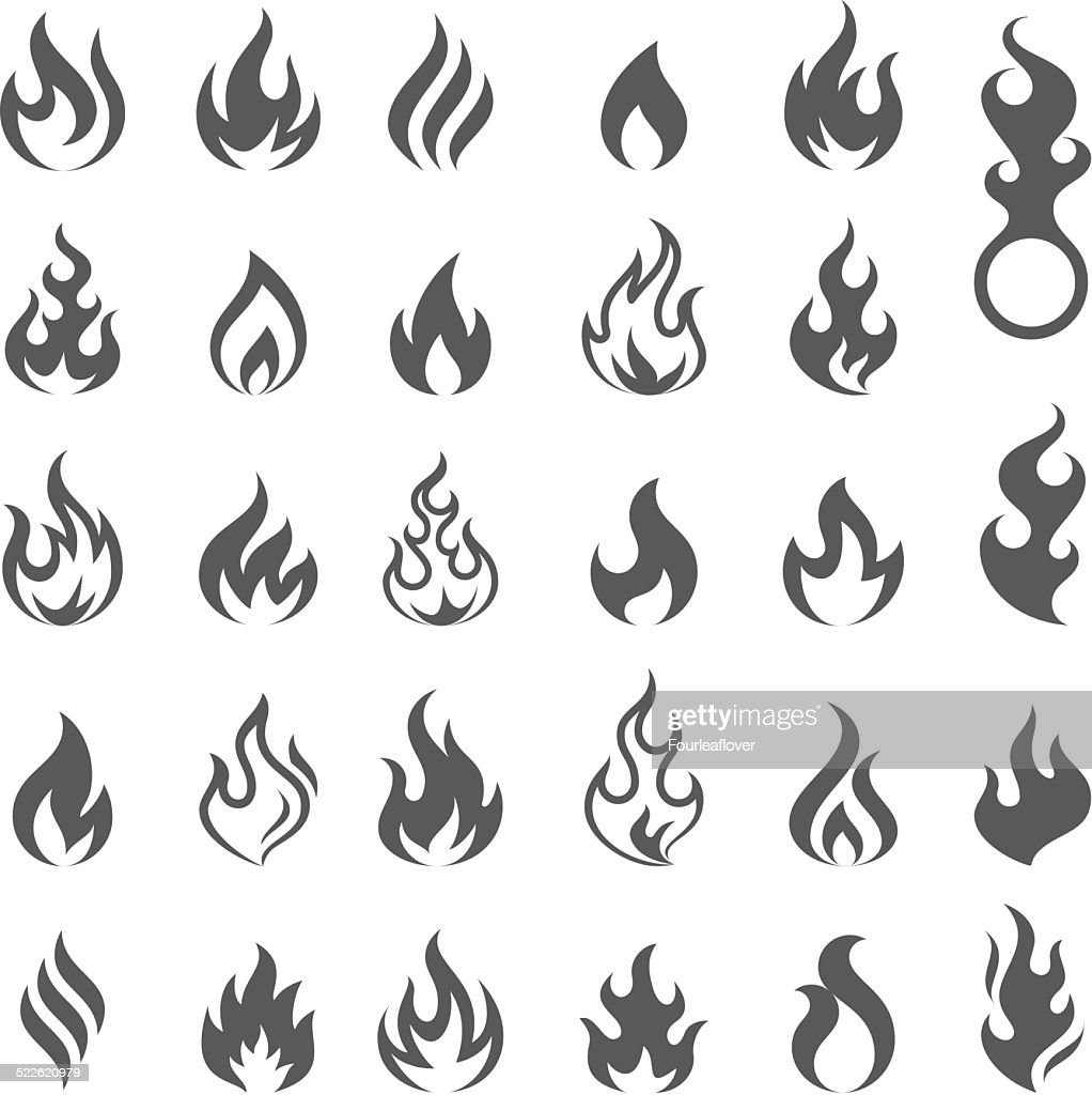 Vector Fire and Flame icon set