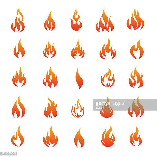 vector fire and flame icons - illustration - fire natural phenomenon stock illustrations, clip art, cartoons, & icons