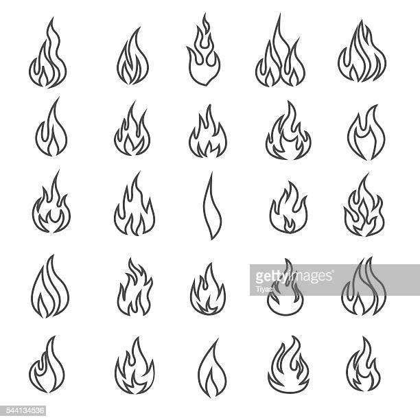 ilustraciones, imágenes clip art, dibujos animados e iconos de stock de vector de fuego y llama iconos-ilustración - llamas de fuego