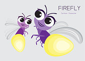 Vector Firefly Cartoon Character design; Cute style concept.