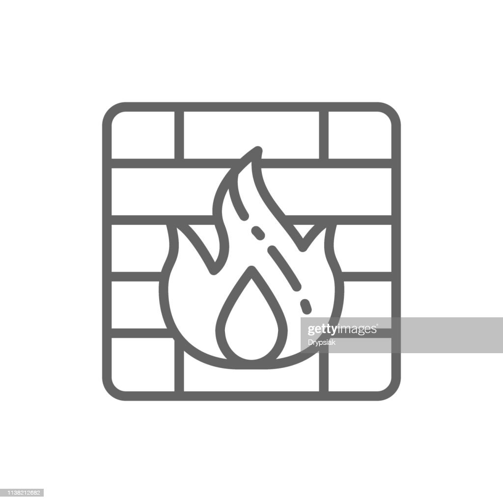 Vector firewall line icon.