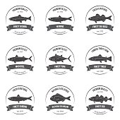 Vector fish silhouettes, labels, emblems.