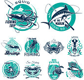 Vector fish symbols for fishing trip icons