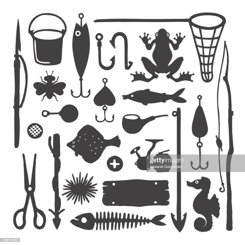 Vector fisherman monochrome handdrawn objects & items set