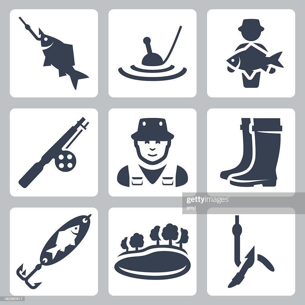 Vector fishing icons set