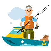 Vector Fishing man. Flat style colorful Cartoon illustration.