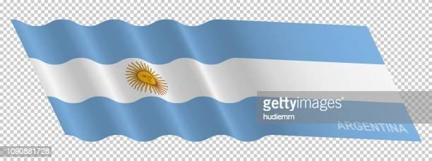 ilustraciones, imágenes clip art, dibujos animados e iconos de stock de vector bandera argentina ondeando fondo - bandera argentina