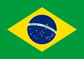 Vector flag of Brazil. Proportion 7:10. Brazilian national flag.