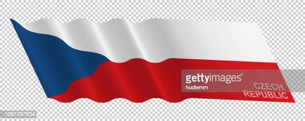 Vector flag of Czech Republic waving background