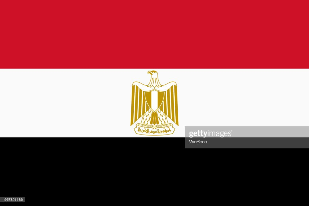 Vector flag of Egypt. Proportion 2:3. Egyptian national tricolor flag. Tricolor.