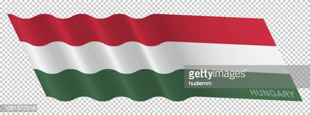 Vector flag of Hungary waving background