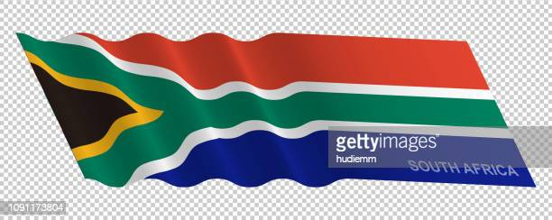 Vector flag of South Africa waving background