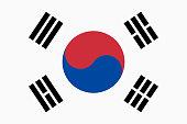 Vector flag of South Korea. Proportion 2:3. South Korean national flag. Taegukgi.