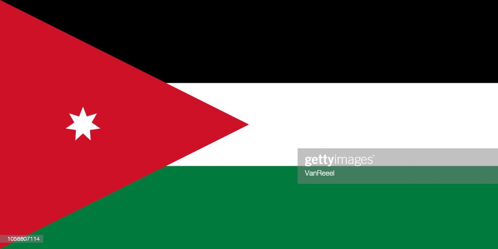 Vector flag of the Hashemite Kingdom of Jordan. Proportion 1:2. The national flag of Jordan.